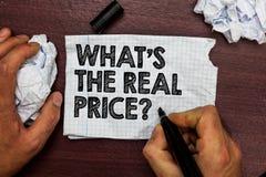 概念性手文字陈列什么s是真实的价格问题 企业照片文本给物产或事务H的实际价值 库存图片