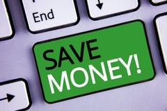 概念性手文字陈列保存金钱诱导电话 文本减少费用的企业照片由收入做一笔资金 免版税图库摄影