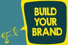 概念性手文字陈列修造您的品牌 企业照片陈列做商业身分营销广告Scr 库存例证