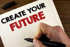 概念性手文字陈列创造您的未来 企业照片陈列的事业目标目标改善集合计划学会 免版税库存图片