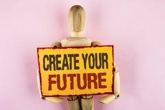 概念性手文字陈列创造您的未来 学会writte的企业照片文本事业目标目标改善集合计划 库存图片