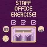 概念性手文字陈列办公厅锻炼 陈列企业的照片促进体育健身惯例为 皇族释放例证
