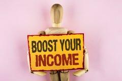 概念性手文字陈列助力您的收入 企业照片文本改进您的付款做自由职业者的半日工作改进命令 免版税图库摄影