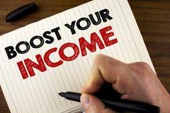 概念性手文字陈列助力您的收入 企业照片陈列改进您的付款做自由职业者的半日工作Improv 库存照片
