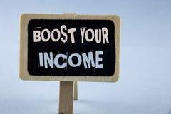 概念性手文字陈列助力您的收入 企业照片陈列改进您的付款做自由职业者的半日工作Improv 免版税库存照片