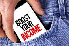 概念性手文字陈列助力您的收入 企业照片陈列改进您的付款做自由职业者的半日工作Improv 免版税库存图片