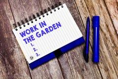 概念性手文字陈列工作在庭院里 企业趋向草坪围场厂幼木和庄稼的照片文本 库存照片