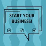 概念性手文字陈列开始您的事务 企业照片陈列的企业家组织小组织 皇族释放例证
