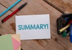 概念性手文字陈列总结 陈列要点的简短声明或帐户企业照片  免版税库存图片