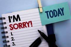 概念性手文字陈列我抱歉的m 企业照片文本道歉良心感受懊歉然懊悔悲哀 免版税库存图片