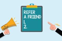 概念性手文字陈列提到一个朋友 企业照片文本推荐任命在任务合格的某人 向量例证