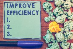 概念性手文字陈列改进效率 在表现的企业照片陈列的能力与最少废物 库存图片