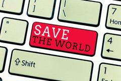 概念性手文字陈列救球世界 企业照片文本保护环境和生存种类生态系 库存图片