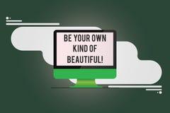 概念性手文字陈列是您自己的美丽 企业照片不同文本的逗留特别种类  向量例证