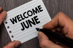 概念性手文字陈列欢迎6月 企业照片陈列的日历第六个月二季度三十几天问候 图库摄影