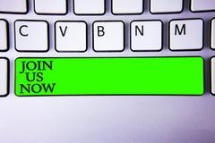 概念性手文字陈列现在加入我们 企业照片陈列在社区记数器注册在网站或形成新兵温泉 免版税库存照片