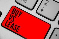概念性手文字陈列购买对租约 企业照片文本拥有它有条件缺点键盘的某事对借用 免版税库存图片