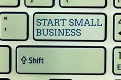 概念性手文字陈列起动小企业 企业照片陈列的令人想往的企业家新的事业贸易产业 图库摄影