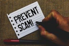 概念性手文字陈列防止诈欺诱导电话 企业照片陈列的消费者保护法欺骗transacti 库存照片