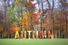 概念性秋天词在秋季公园 库存照片