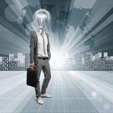 概念性背景的闪亮指示顶头人 免版税图库摄影