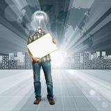 概念性背景的闪亮指示顶头人 免版税库存照片
