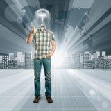 概念性背景的闪亮指示顶头人 图库摄影