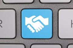 概念性键盘蓝色白色合作 免版税库存图片