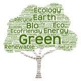 概念性绿色生态树词云彩 免版税图库摄影