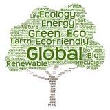 概念性绿色生态树词云彩 免版税库存照片