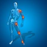 概念性3D人的人或男性最基本的痛苦或者疼痛解剖学 免版税库存照片