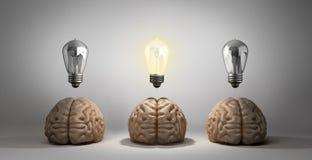概念想法出现了在地板和他们中的一个上的三脑子谎言 皇族释放例证