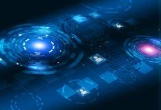 概念技术3D圈子接口 免版税库存照片