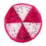概念放射性切片红色和白色龙果子, Pitaya 免版税库存照片