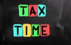 1040年概念放置包税时间顶层的表单指令 免版税库存照片