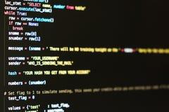 概念数字式女孩信息膝上型计算机光亮技术隧道 编制程序在屏幕上的剧本文本 库存图片