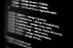 概念数字式女孩信息膝上型计算机光亮技术隧道 编制程序程序员语言在屏幕显示器显示的剧本文本 程序员职业工作 selec 免版税图库摄影