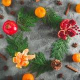 概念新年度 可口石榴石,普通话框架  桂香和茴香在黑暗的背景 平的位置 顶视图 免版税图库摄影