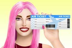 概念旅行,飞机票 五颜六色的背景的拉长的美丽的女孩 例证 库存照片