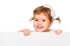 概念有白色空白的海报的儿童女孩 免版税图库摄影
