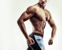 概念查出的体育运动白色 关闭肌肉白种人男性的图象在体育衣物的在灰色背景 免版税图库摄影
