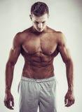 概念查出的体育运动白色 关闭肌肉白种人男性的图象在体育衣物的在灰色背景 库存照片