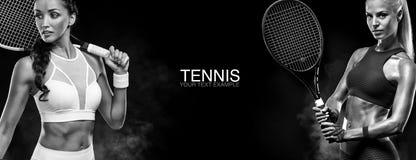概念查出的体育运动白色 炫耀女子有球拍的网球员 复制空间 北京,中国黑白照片 网球海报 免版税库存照片