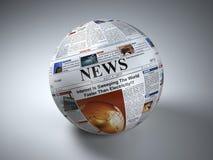 概念标记许多新闻纸字 报纸球形 Three-dimaensional图象 免版税库存图片