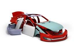 概念汽车绘了红色身体并且填装了近被隔绝的零件 免版税库存图片