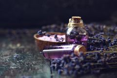 概念温泉疗法 新鲜的淡紫色开花与自然手工制造熏衣草油,海盐 免版税图库摄影