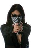 概念热女孩的枪 免版税库存照片