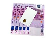 概念电子查出的货币白色 库存图片