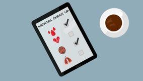 概念的数字式医疗检查 数字式在一种片剂的医疗保健概念用咖啡 皇族释放例证