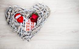 概念礼物2月14日,一件为华伦泰` s天 免版税库存照片